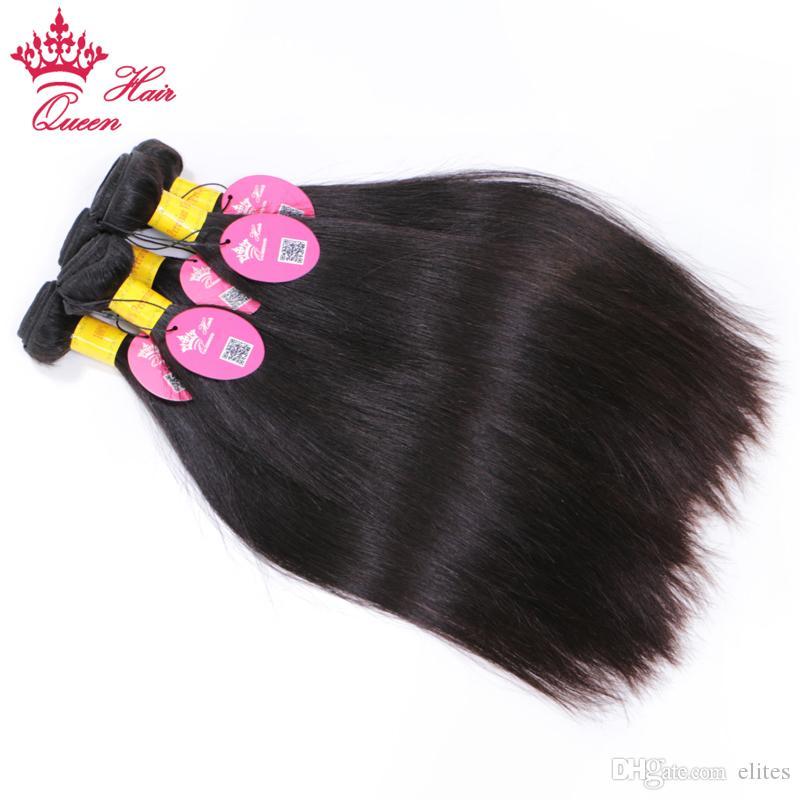 "Queen Hair Peruvian Straight Bundles Human Hair Extensions Double Weft Virgin Hair Weave Bundles 8""-30""Natural Color 5pcs"