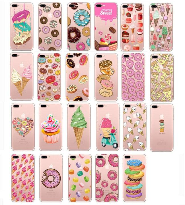 Sweet Food Pattern Printed Phone Case For iphone XS Max XR 8 7 6 6S Plus 5S SE Soft Slim Transparent Rubber Clear TPU Cases Donuts