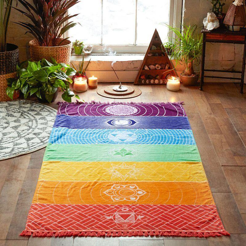 Moda Yoga Mat tapeçaria do arco-íris 7 Chakra Stripes Toalha de Praia parede Verão de suspensão Mandala Blanket viagem protetor solar xaile 150x75CM