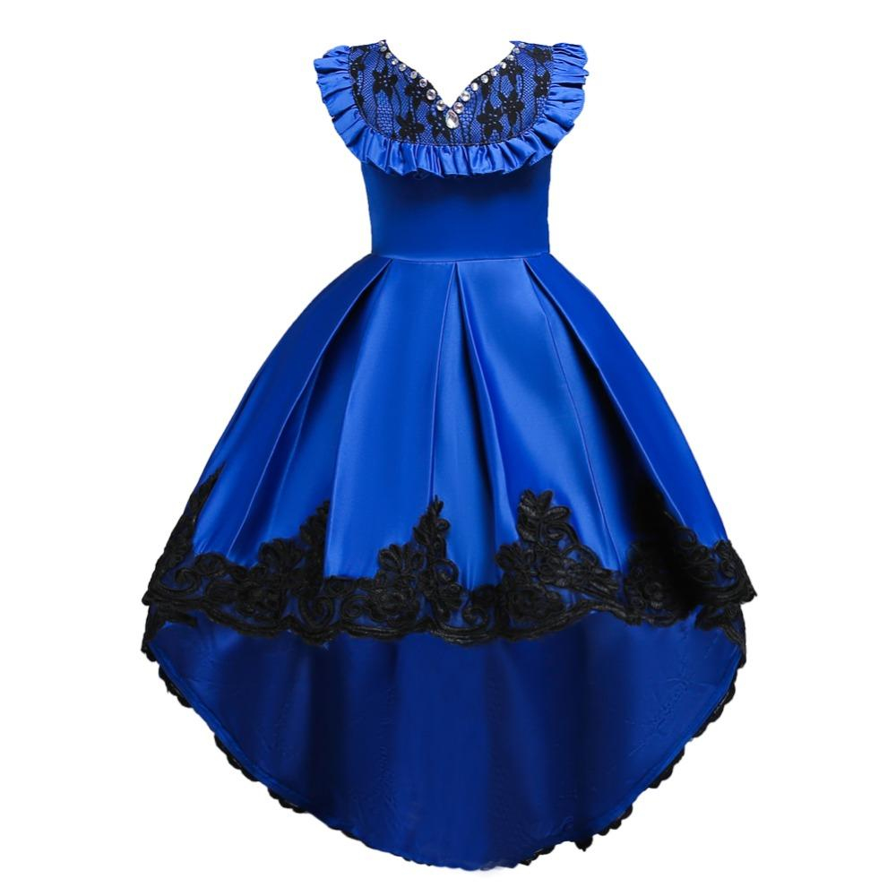 New pattern Girls Birthday Wedding Party Pageant Long Princess Dress Kid Christmas Costume Clothes Prom Dresses 4-14 years old