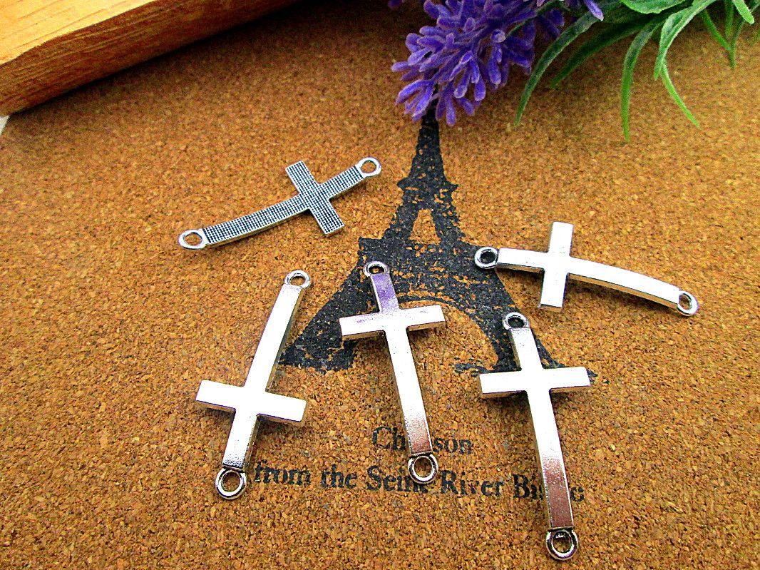 60pcs 37x16mmCross амулеты, старинное серебро Сбоку Крест Шарм подвеска разъем