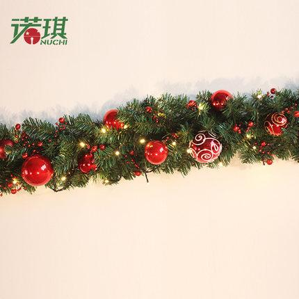 2 7m Christmas Garland Green With Red Gold Bows Lights Ornaments Christmas Decorations For Home Decorations Ornaments Discount Outdoor Christmas