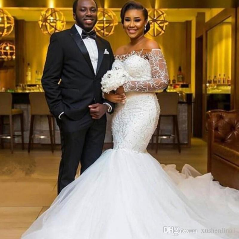 2018 New African Mermaid Abito da sposa di lusso in pizzo al largo della spalla in rilievo Tulle Sweep treno abito da sposa sexy coperto pulsante abiti da sposa