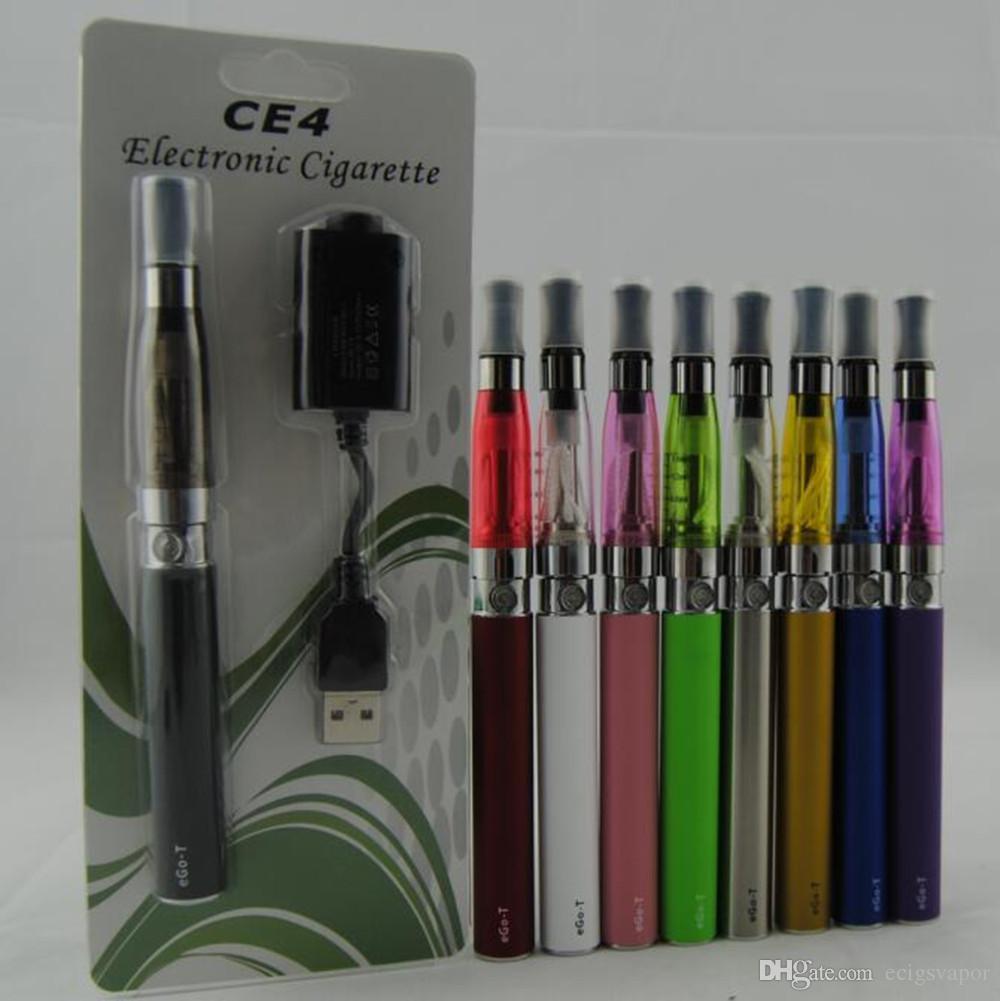 Ecigs eGo CE4 Blister kit CE4 Vaporizer Atomizer 650mah 900mah 1100mah colourful ego battery vape pens VS EVOD MT3 CE5 starter Kits