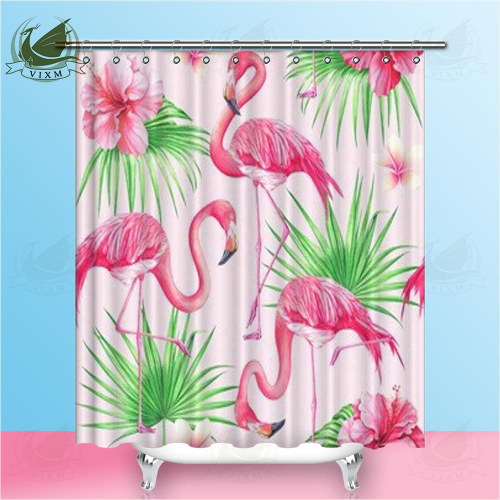 Vixm Flower Palm Leaves And Flamingo Tropical On Pink Background Shower Curtains Polyester Fabric Curtains For Home Decor