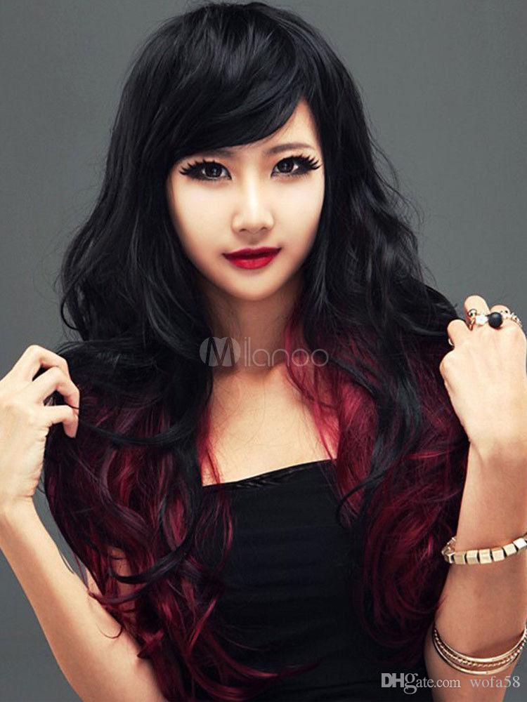 wie Echthaar Mode Sexy Natürliche Damen Lang Gewellt Schwarz rot Perücken wig