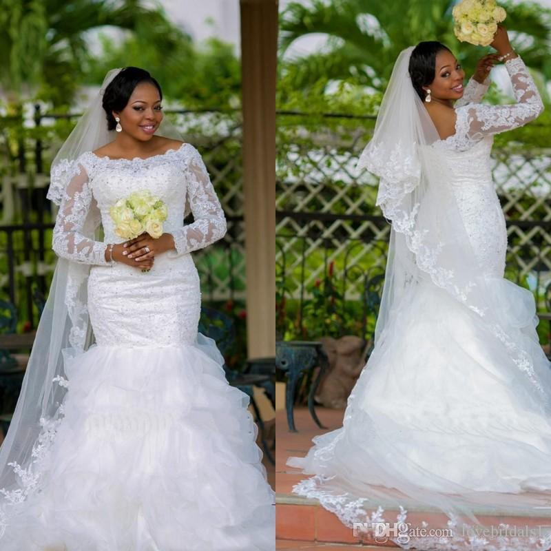 Plus Size Lace Mermaid Wedding Dress With Sheer Long Sleeve Beaded Lace  Appliques Fit And Flare Bridal Gowns Corset Bridal Gown Wedding Party  Dresses ...