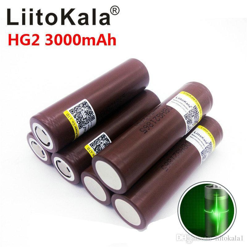 LiitoKala HG2 18650 3.7V 3000mAh cigarette électronique alimentation Batterie rechargeable à décharge à haute, 30A grande flashlig courant haute puissance