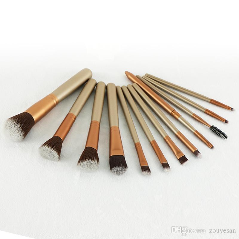 Zouyesan Frete Grátis 2019 Tri-cor beleza opcional conjunto de ferramentas de maquiagem 12 escova de maquiagem clássico
