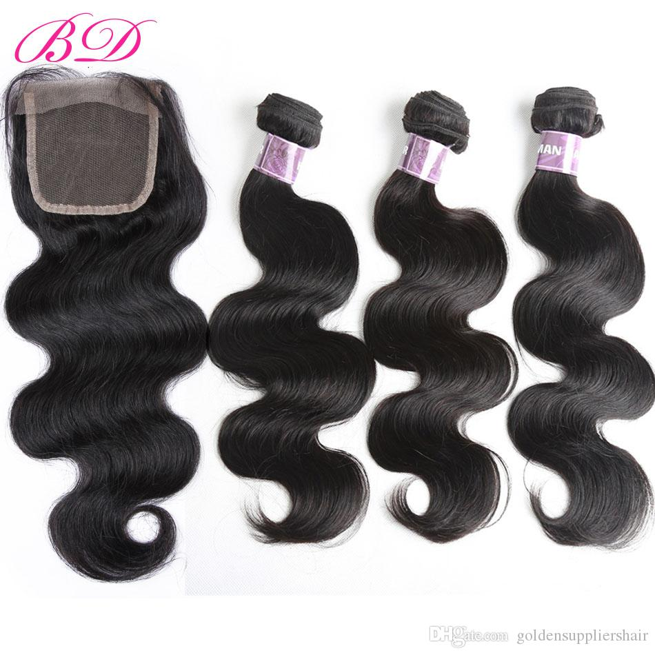 BD Clearance Sale Brazilian Peruvian Malaysian Indian Body Wave Top Lace Closure Human Hair Extensions Brands 4pcs Packs Three Parts
