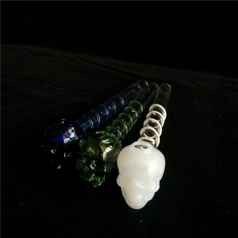 MOQ 2 Stück heißes verkaufenbuntes großes Pyrex 5.5'''skull Glasöl-Brenner-Rohr Starkes Farbe Glas für Ölplattformglaswasserrohr