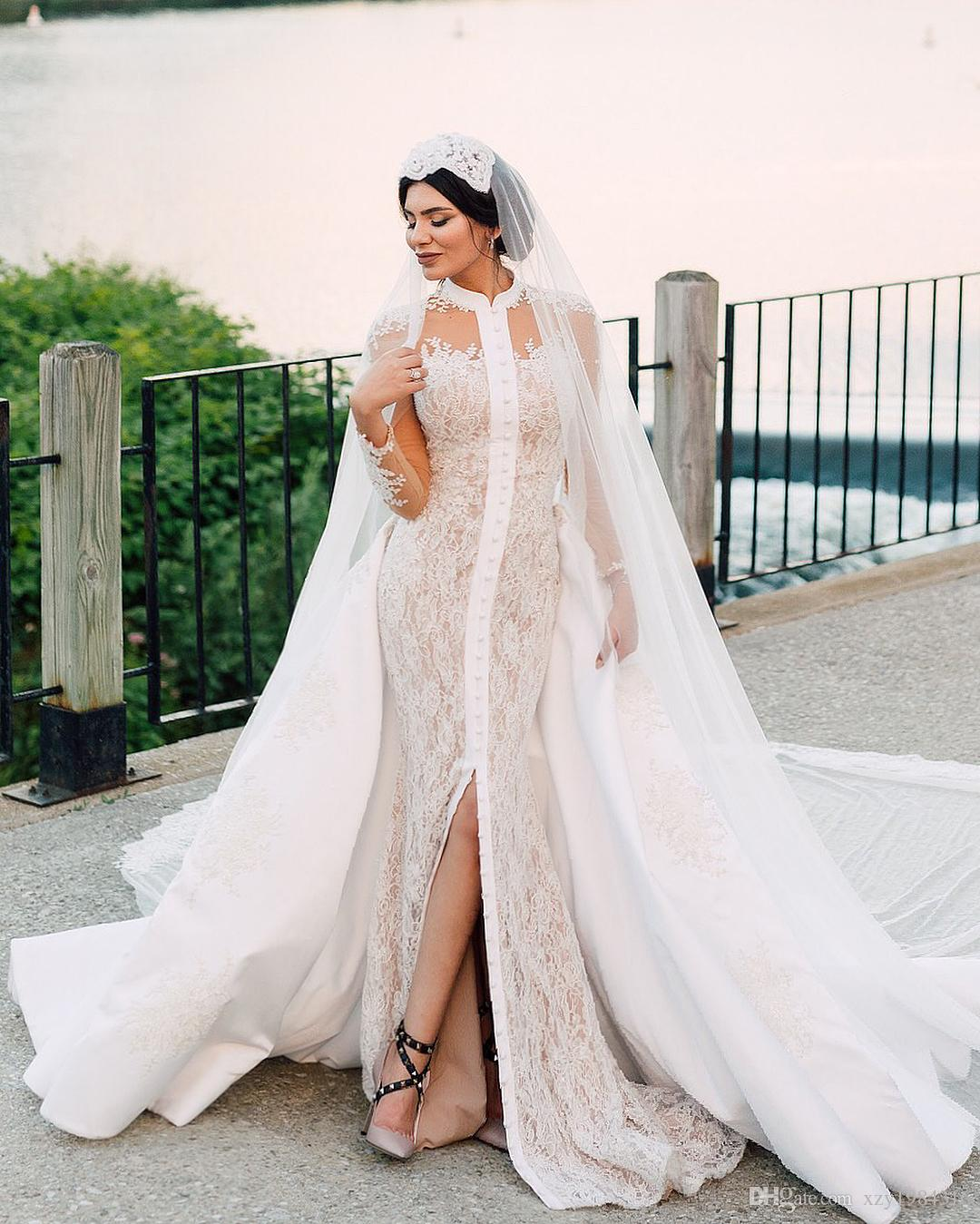High Neck Mermaid Wedding Dress With Overskirt Stylish Covered Button Long Sleeve Lace Applique Bridal Dress Glamorous Charm Wedding Gowns