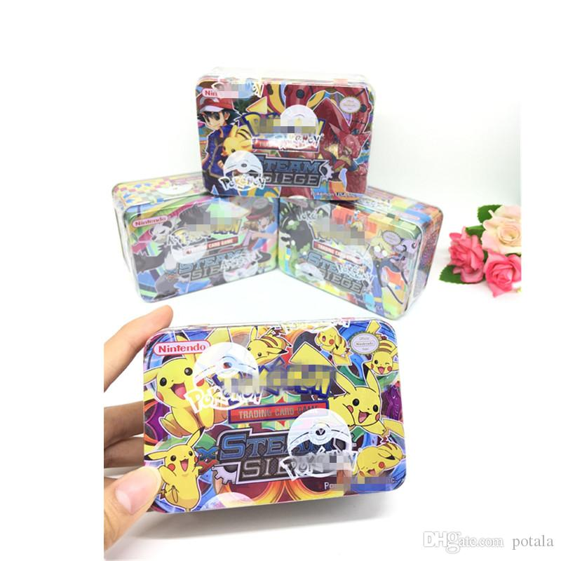 42pcs/lot Trading Cards Games Evolutions Steel box guess anime juguetes board games cards against muggles Anime Pocket Monsters Toys poker