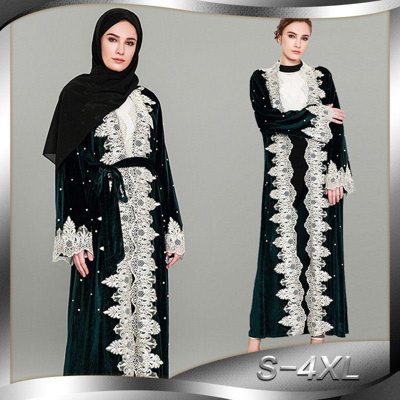 Nuova floreale Abaya per le donne Abito musulmano islamico Abbigliamento Open Robe Bordare il pizzo Dubai Caftan Kaftan Ramadan Prayer Abbigliamento