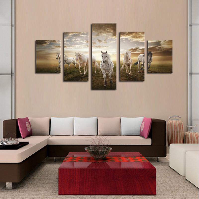 Acheter Peinture à L Huile Mur Art Imprime Tableau Toile Décoration De La Maison En Cours D Exécution Cheval Grand Hd Moderne Mur De La Maison