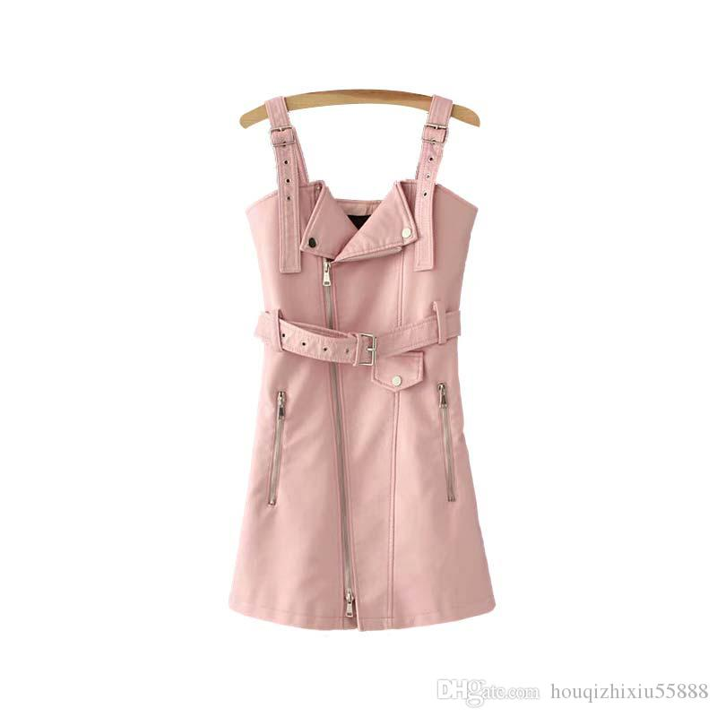 PU leather mini dress adjustable strap bow tie belt pockets sleeveless backless candy colors female dresses Vestidos