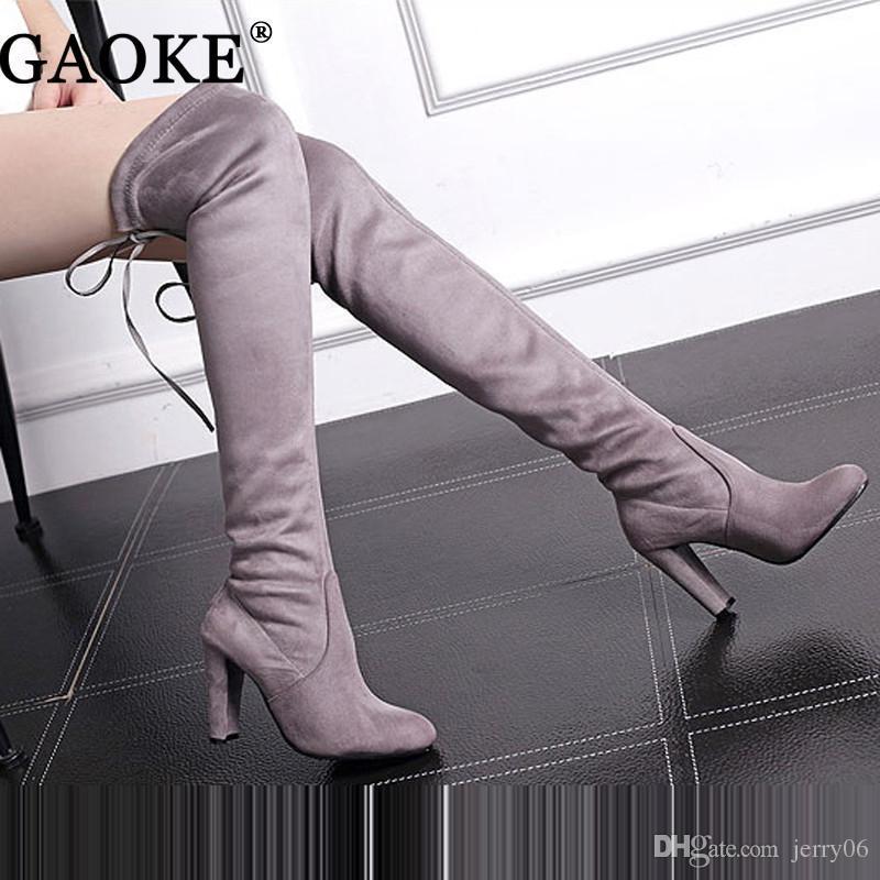 Stivaletti donna alti in camoscio stivali sopra il ginocchio Stivaletti sexy stivali tacchi alti Botas Nero vino rosso per le donne
