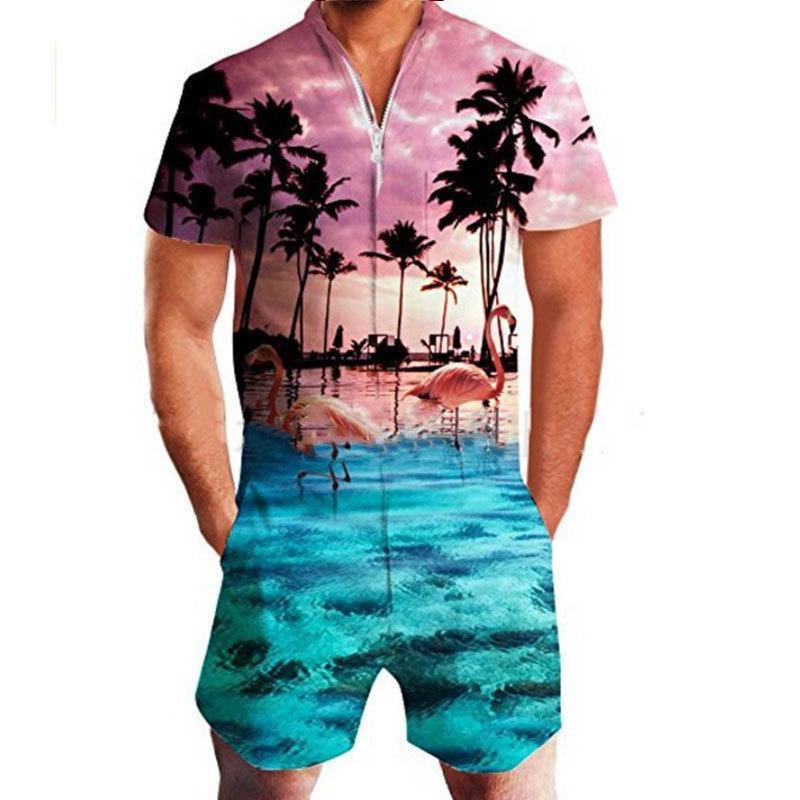 LEQEMAO Herren Casual Romper Floral Print Kurzarm Jumpsuit Beach Overalls Einteilige Slim Clothing Herren-Sets