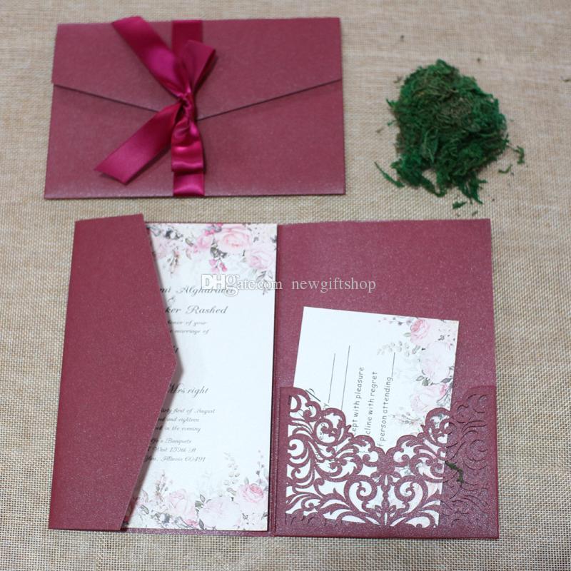 2019 Marsala Burgonya Düğün Şerit Lüks Lazer Kesim Shimmy Trifold Cep Düğün Davetiyeleri Davet, Ücretsiz Kargo Ücretsiz Baskı