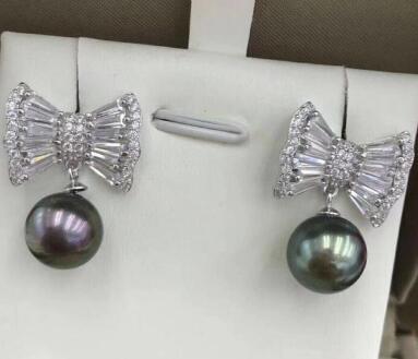 Бесплатная доставка оптовая цена новый изысканный красивый 100% натуральный пресноводный жемчуг галстук-бабочку серьги 925 серебро