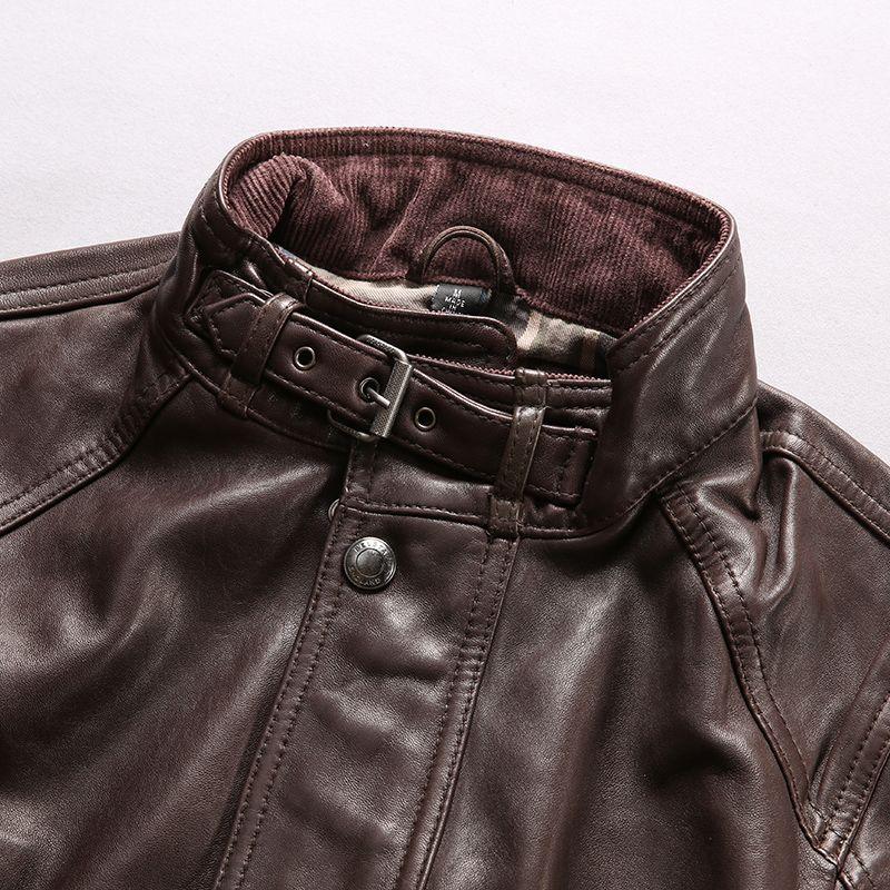 Темно-коричневый Стенд воротник мужчин мотоцикл подлинной кожаные куртки Multi-карман длинный стиль овчины кожаные куртки