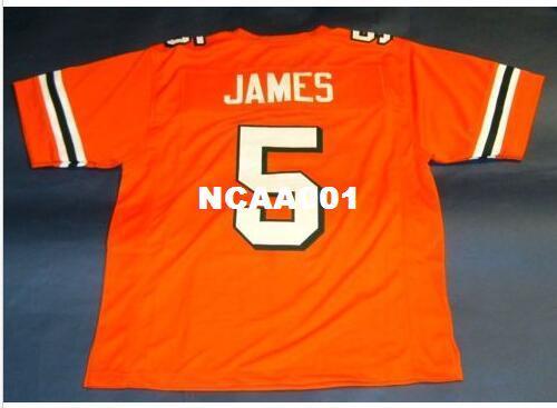 Uomini CUSTOM # 5 EDGERRIN JAMES UNIVERSITÀ CUSTOM DI MIAMI HURRICANES College Jersey taglia s-4XL o personalizzata qualsiasi nome o numero maglia