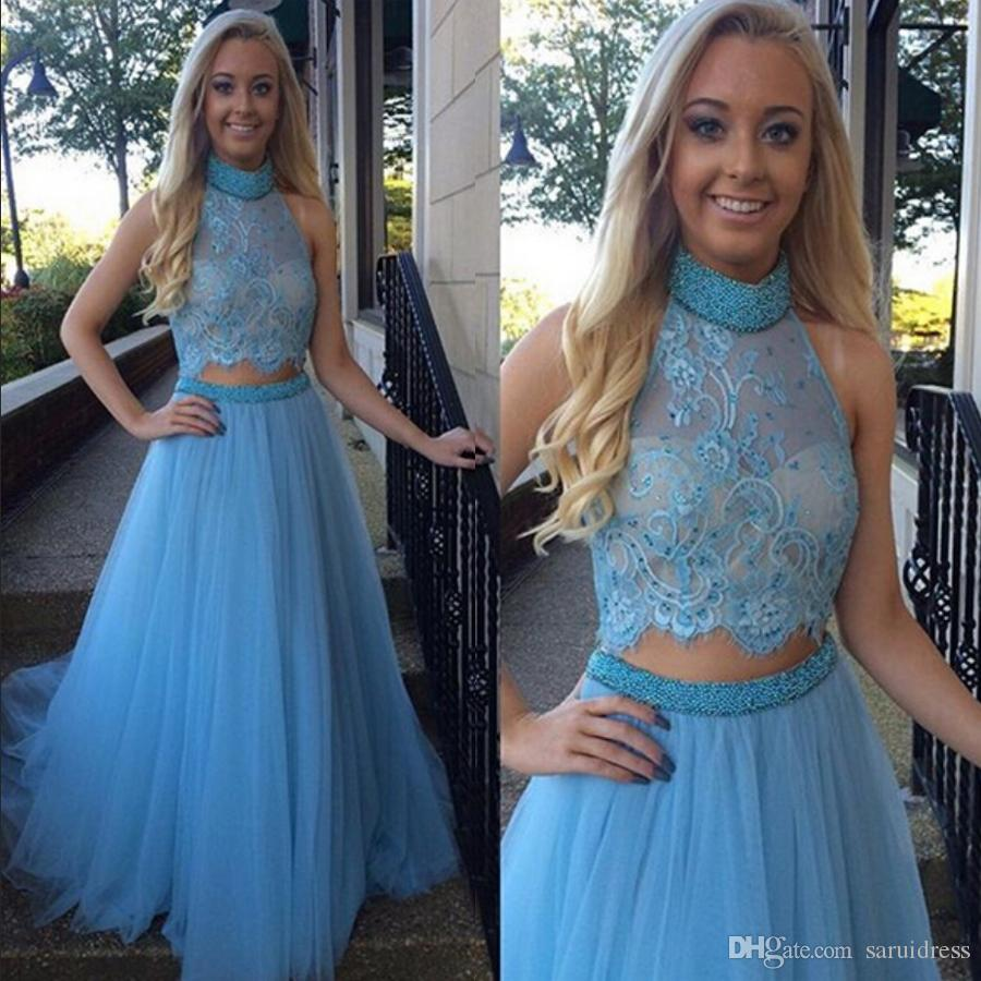Halter Neckline Blue junior Prom Dress Two Pieces Beading Belt Long Evening Dress Cutout Open Back Formal Gowns