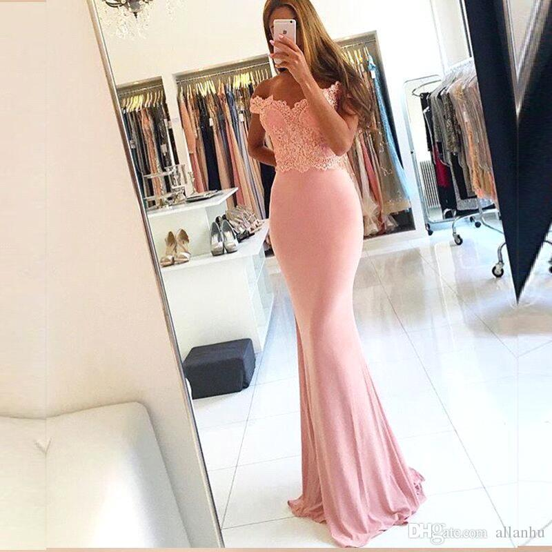 Simple Cheap Pink Off Shoulder Lace Applique Long Mermaid Prom Dresses 2018 Backless Evening Wear Evening Gowns vestidos de fiesta