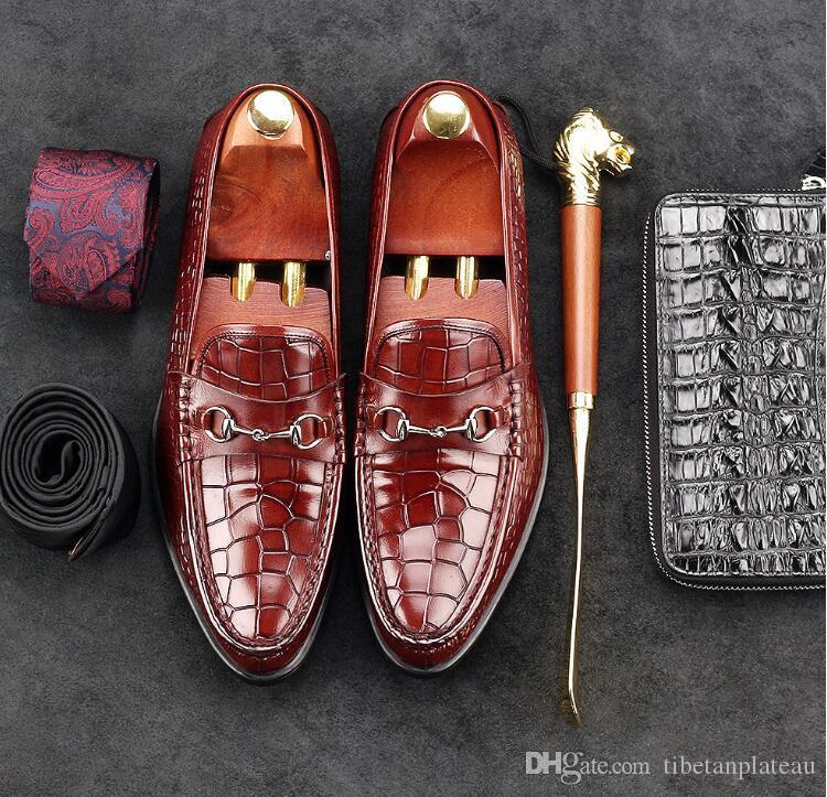 Oryginalna skóra męska sukienka buty Slip-on aligator Wzór Smart Casual Mieszkania Mokasyny Męskie Mokasyny Gommino Spring Pojedyncze buty