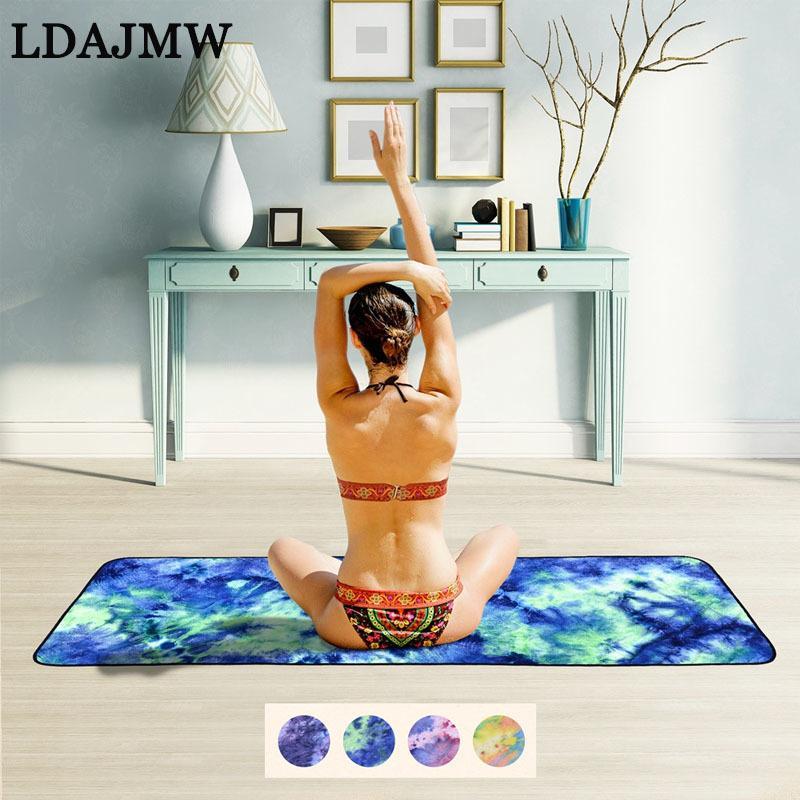 LADJMW Tie-Dye Strandtuch Set rutschfeste Yoga Falten Fitness Produkte Sport Serviette Camping superfeine Faser