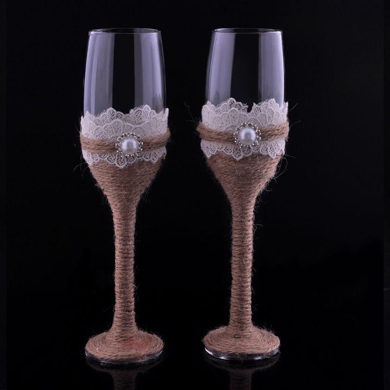 Zestaw 2 Burlap Lace Design Rustic Wedding Champagne Flety Ślubne Kieliszki do Wino Panny Młodej I Pan młody Opiekujący Flety Wedding Favor Prezent