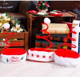 Рождество спираль Весна шапки Дети взрослые красного Рождество Hat с белым Плюшевым рождеством Нового года украшение