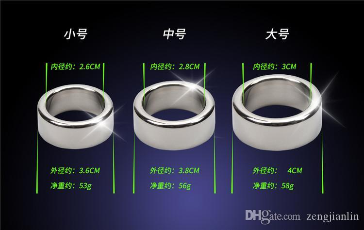 3 unidades / lote 26 28 30mm glande anéis lisos de aço inoxidável Cock Ring Male Chastity Dispositivo Penis Sleeve Adult Sex Toys For Man