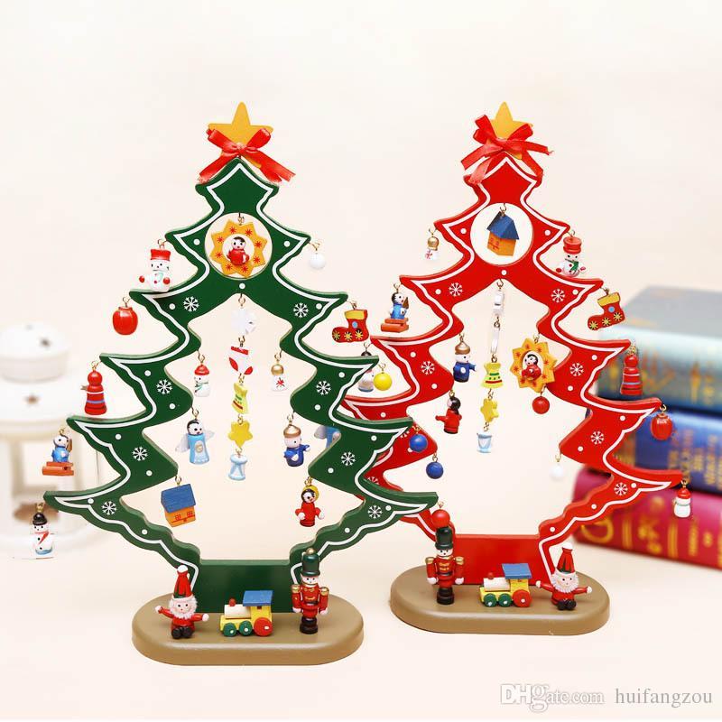 Regali Di Natale Per Bimbi.Acquista 2018 Decorazioni Di Natale Ornamenti In Legno Giocattoli Bambini Regali Di Natale Bambini Rosso Verde Disponibile Due Pezzi Un Pacchetto A