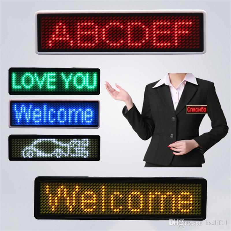 Programmable Digital LED Scrolling Name Sign Card Tag Moving Message Display
