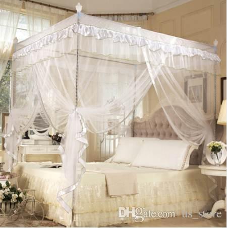 Moskitonetz Vier Eckpfosten Doppelbett Klamboe Moutiquaire Vorhang Bett Vordächer Erwachsene Moskitonetz Bettwäsche