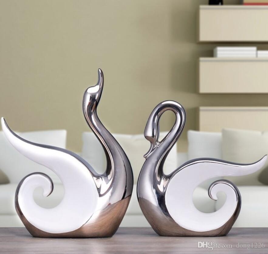 2pc bianco argento ceramica amanti Cigno artigianato arredamento casa decorazione della stanza artigianato figurine di porcellana decorazioni di nozze