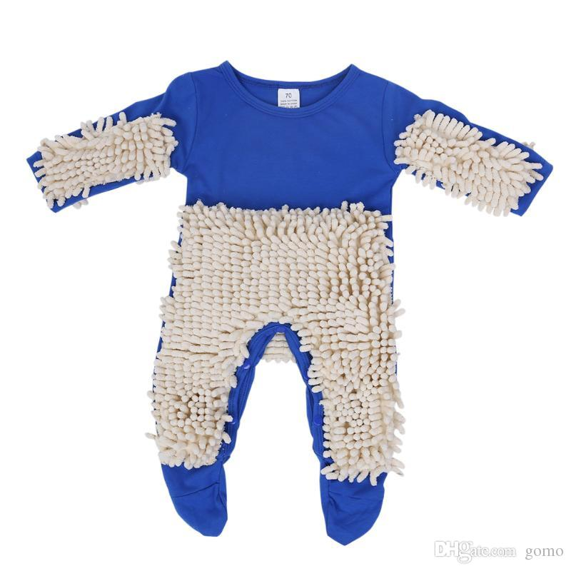 Baby Clothes Mop Romper Outfit Unisex Infant Boy Girl Polishes Floors Cleaning Mop Suit Baby Crawls Toddler Swob Jumpsuit