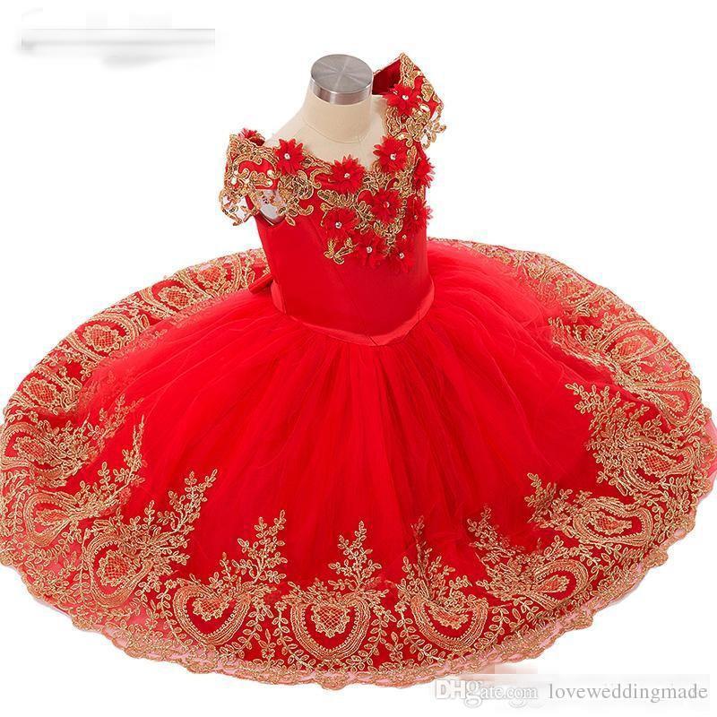 Compre Vestido De Tul Rojo Y Dorado Con Apliques Para Niñas Vestidos Con Hombros Descubiertos Hasta El Suelo Princesa Vestidos De Niña De Flores