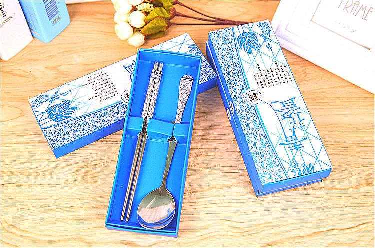 Asian theme party souvenir gift for guest porcelain spoons&chopstick in paper box wedding giveaways 50sets/lot DHL free shipping
