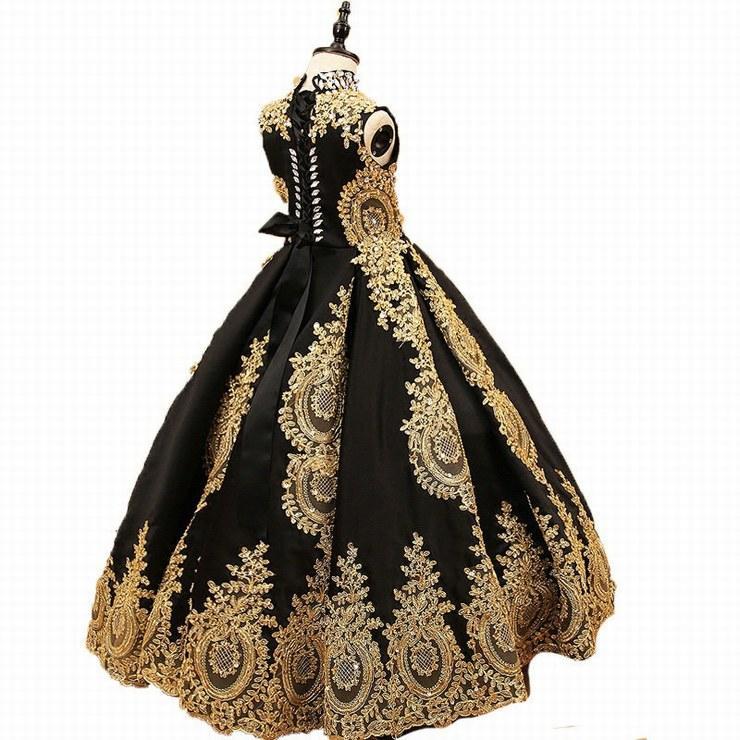 Pageant Çocuklar Yüksek Yaka Altın Dantel Siyah Tül Çiçek Kız Elbise Düğün Için kızın Kat Uzunluk Çocuk Parti Doğum Günü Elbise ytz288