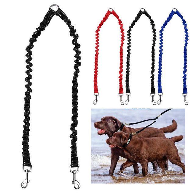 2017 تعديل اليد الحرة مزدوج مقود الكلب حبل المقرنة اتجاهين جديلة النايلون الكلاب تدريب الجر المشي حزام
