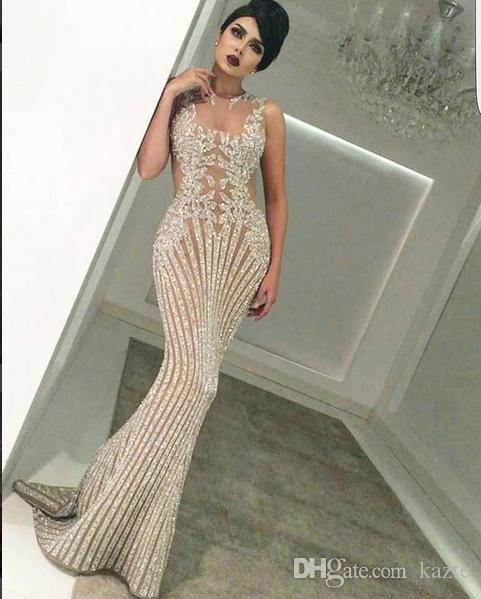 Sparkly Evening Dresses Yousef Aljasmi Labourjoisie Mermaid Crystals Hind  Bh Kylie Jenner Kim Kardahisn Zuhair Murad Dubai Arabic Prom Dress Evening