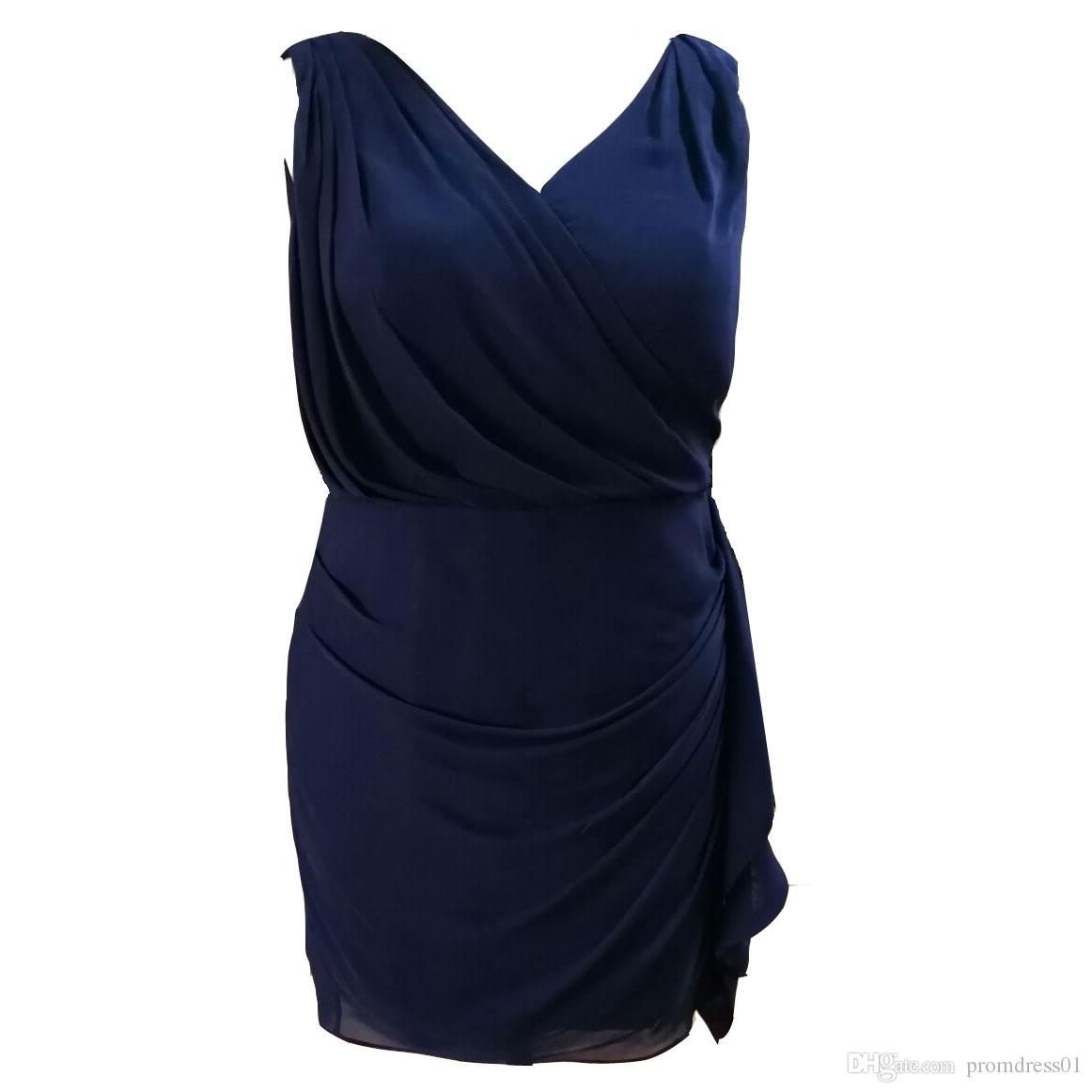 Hot Selling Plus Size Navy Blue Knee Length Sleeveless Mother of the Bride Dresses In Stock Under 100