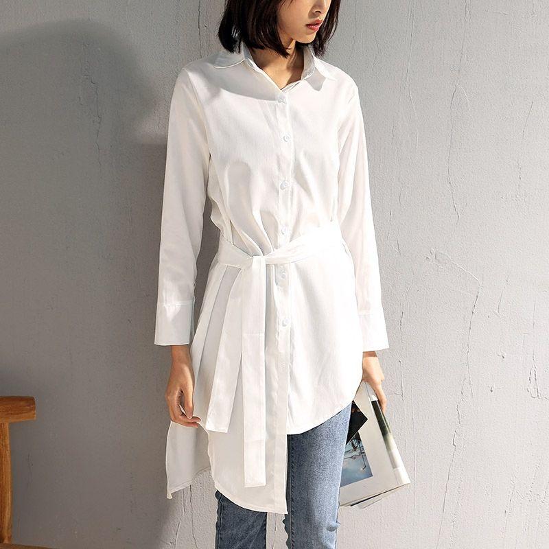 M-4XL Plus Size Camisa Assimetria Design Moda Feminina Casual Irregular de Manga Longa de Algodão Encabeça Arco Feminino Caixilhos Blusa Longa