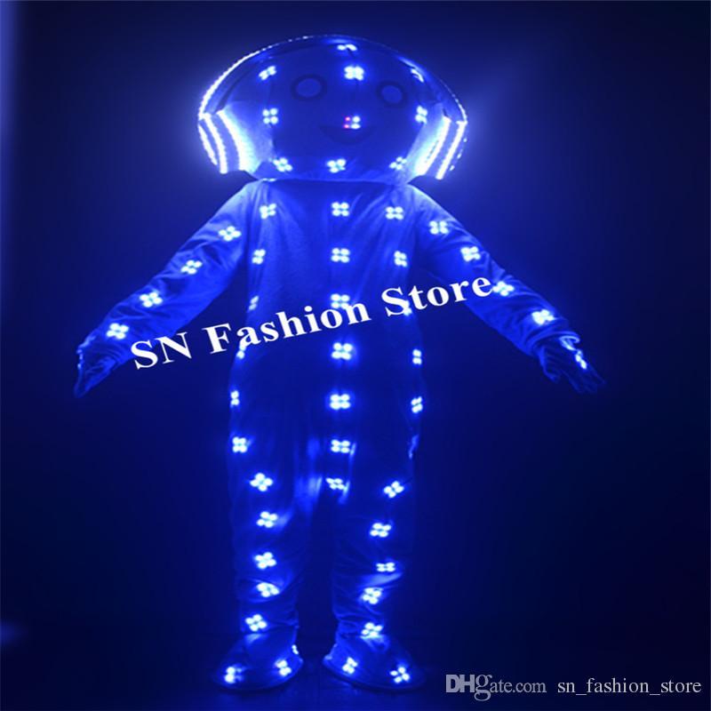 EC89 RGB bunte led kostüme roboter männer bühnenshow leuchtende licht kostüme dj trägt outfits helm große puppe kleidung glühende bar leistung
