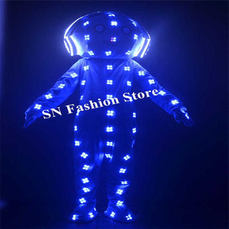 EC89 RGB colorido trajes conduzidos robô homens show de palco trajes de luz luminosa dj veste roupas capacete boneca grande desempenho da barra de incandescência