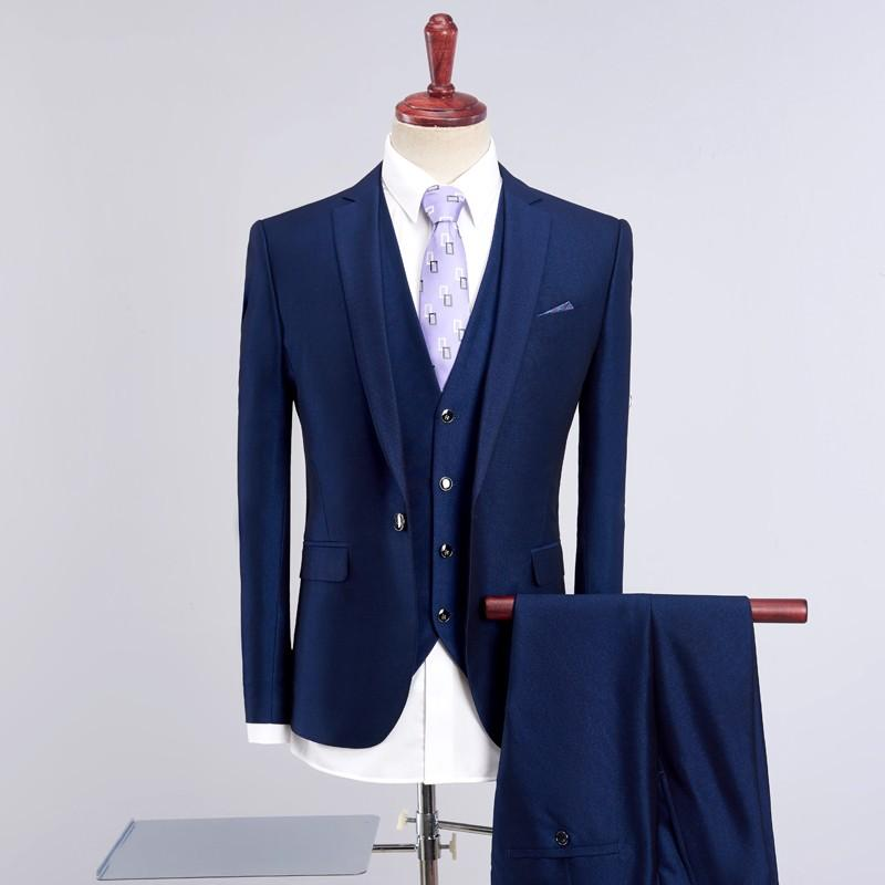 3PC Terno Masculino Quality New Slim Fit Suit Men Business Formal Wear Wedding Suits For Men One Button Casual Blue Tuxedo 4XL-S