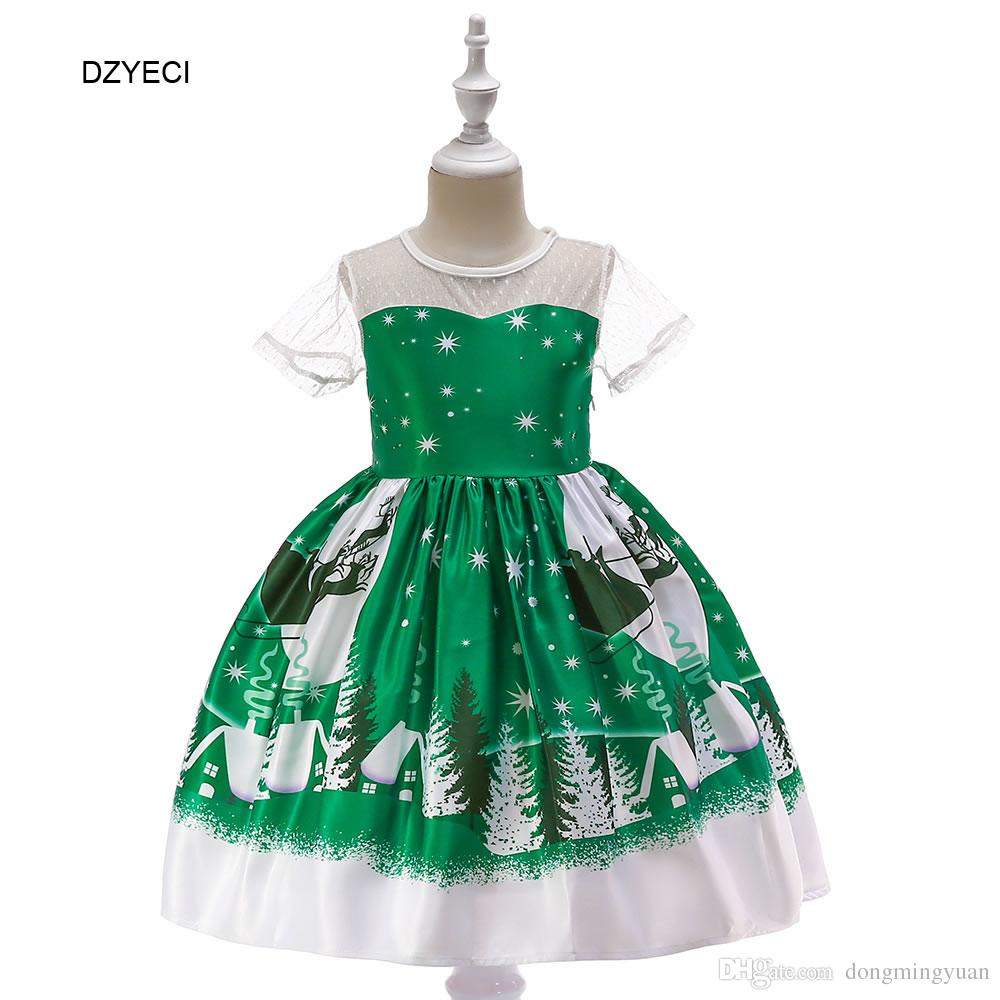 Christmas Costume For Baby Girl Dress Carnival Festive Kid Santa Print Party Birthday Princess Frock Children Wedding Clothes
