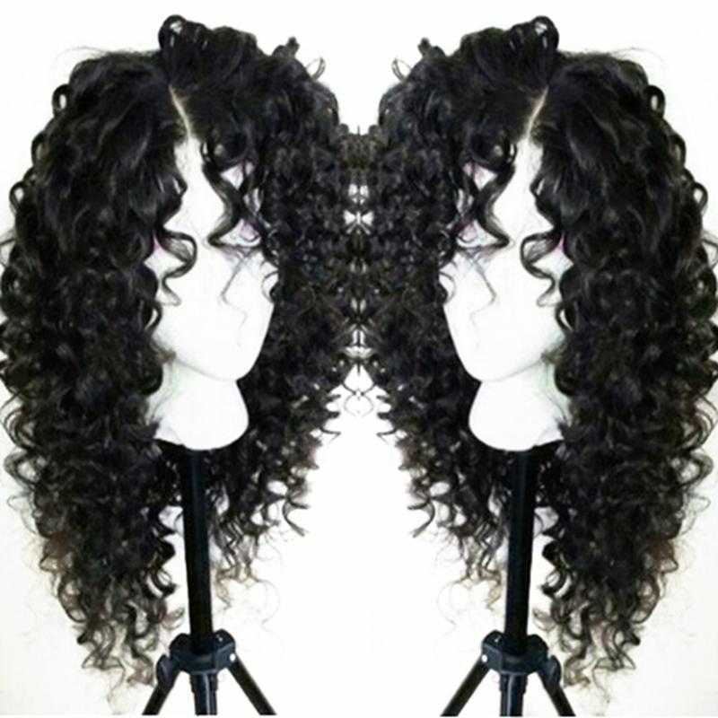 Trasporto libero naturale che guarda i capelli ricci crespi parte laterale Glueless parrucche sintetiche anteriori del merletto per le donne 24 pollici densità di colore del nero di 180%